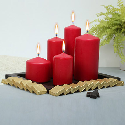 Red Candles and Assorted Chocolates Combo: Diwali Candles
