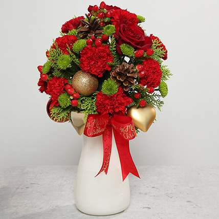 Red Carnations and Roses Arrangement: Christmas Flowers