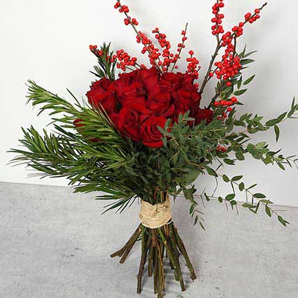 Red Roses and Ilex Berries Bouquet: Bouquet of Flowers