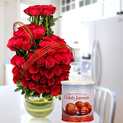 Red Roses Arrangement With Gulab Jamun: Karwa Chauth Flowers & Sweets