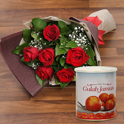 Red Roses Bouquet and Gulab Jamun Combo: Diwali Flowers & Sweets