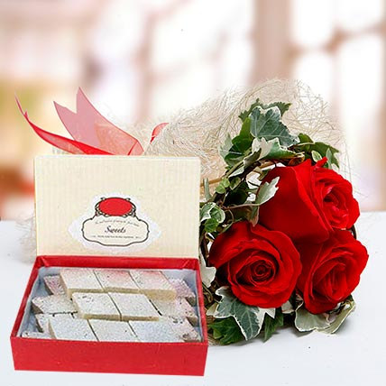 Red Roses Bouquet and Kaju Katli Combo: Karwa Chauth Flowers & Sweets