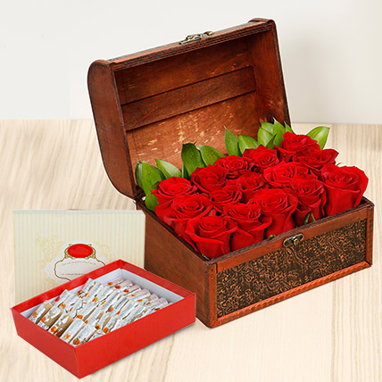 Red Roses Treasured Box With Kaju Roll: Karwa Chauth Flowers & Sweets