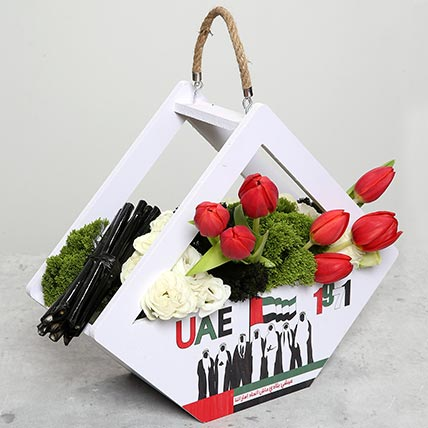 Red Tulips in Special UAE Day Wooden Base: National Day Flowers