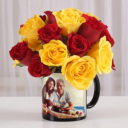 Red Yellow Roses in Personalised Mug: Fathers Day Personalised Gifts