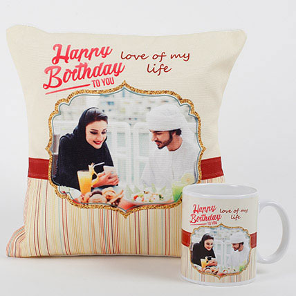 Romantic Personalized Mug N Cushion: Personalised Gifts to Abu Dhabi