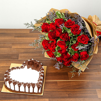 Rose Bouquet and Chocolate Cake Combo: Valentine Gifts to Ajman