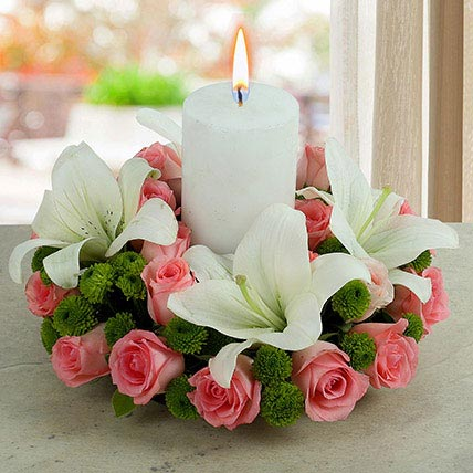 Roses N Lilies With Candle: