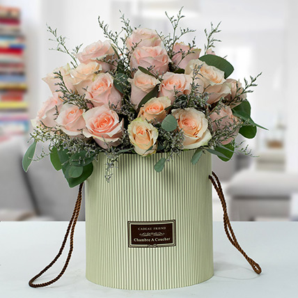 Serene Peach Roses Arrangement: Order Flowers