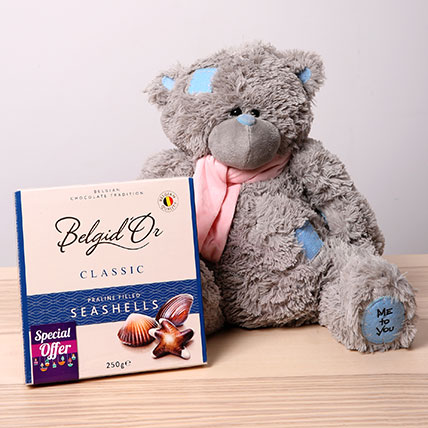 Soft Toy and Belgian Chocolate Combo: New Year Gifts