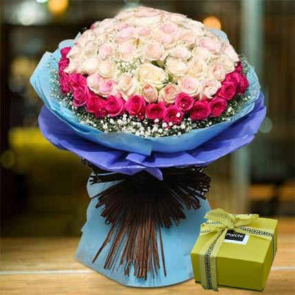 Splendid Roses Bouquet and Patchi Chocolate Combo: Flowers & Chocolates