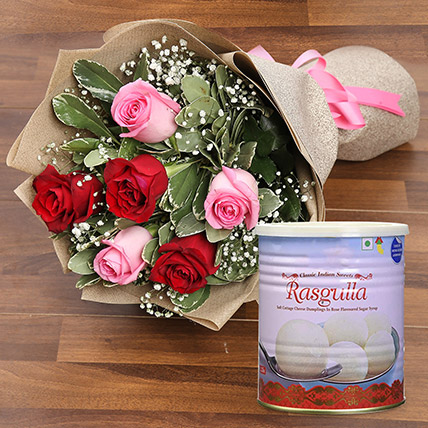 Splendid Roses Bouquet and Rasgulla Combo: Anniversary Flowers & Sweets