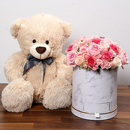 Stylish Box Of Pink Roses With Chocolates and Teddy: Anniversary Flowers & Teddy Bears