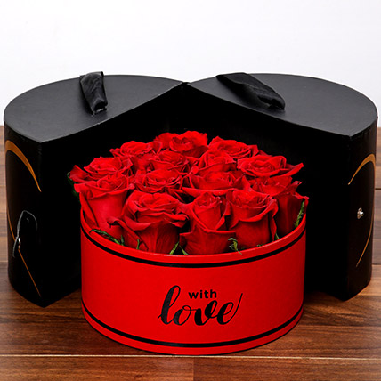 Stylish Box Of Red Roses: