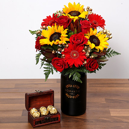 Sunlower and Roses With Chocolates: