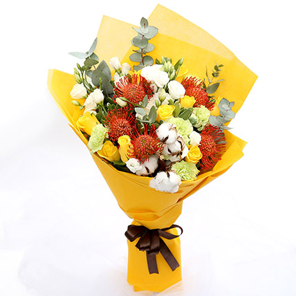 Sunshine Roses and Protea Flower Bouquet: Father's Day Gifts