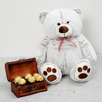 Teddy Bear and Wooden Chocolate Box Combo: New Arrival Gifts in Dubai