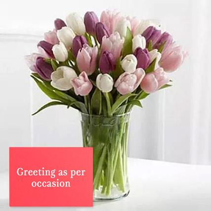Tulips Vase Arrangement With Greeting Card: Anniversary Flowers & Greeting Cards