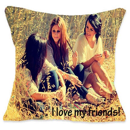 I Luv My Friends Personalized Cushion: Friendship Day Personalised Gifts
