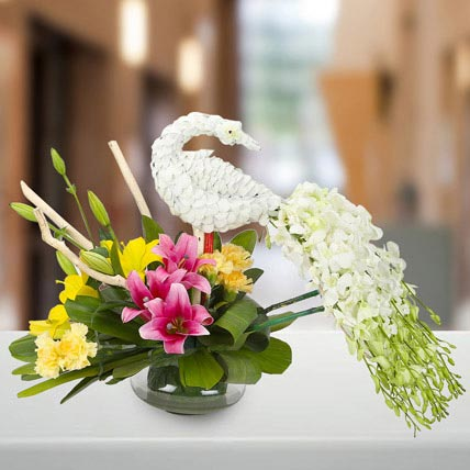 Dazzling White Floral Peacock: