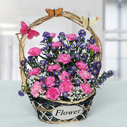 Deightful Carnations N Blue Aster Flower Basket: Anniversary Basket Arrangements