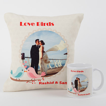Love Birds Personalized Combo: Personalised Gifts for Anniversary