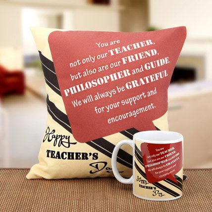 Beauty Of Thoughts Cushion and Mug Combo: Gifts For Teacher's Day