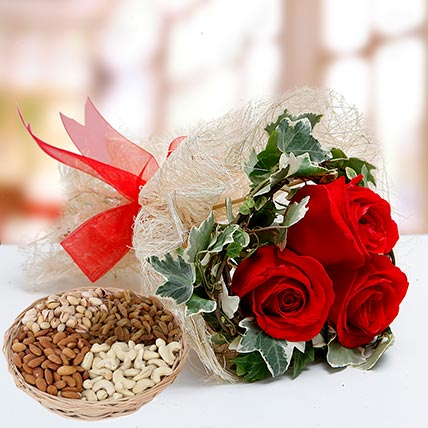 Velvety Rose Bouquet and Dry Fruits Combo: Karwa Chauth Flowers & Dry Fruits