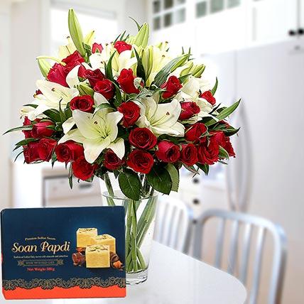 Floral Vase Arrangement and Soan Papdi Combo: Ramadan Flowers & Sweets