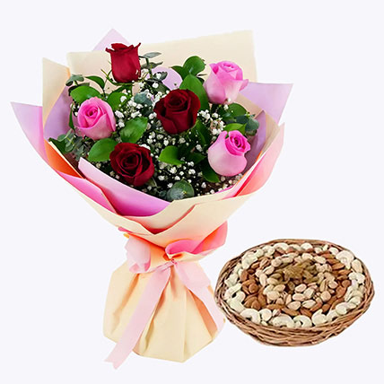 Captivating Roses Bouquet and Dry Fruits Combo: Flowers and Dry Fruits