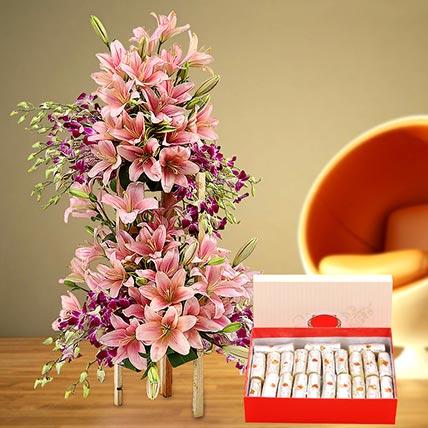 Appealing Flowers Arrangement and Kaju Roll Combo: Diwali Flowers & Sweets