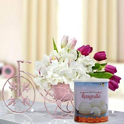 Refreshing Flowers Arrangement and Rasgulla Combo: Eid Flowers & Sweets