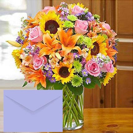 Mixed Flowers Vase Arrangement With Greeting Card: Sunflowers Bouquets