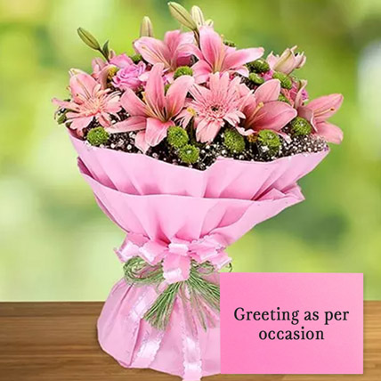 Pink Flowers Bouquet With Greeting Card: Karwa Chauth Flowers & Greeting Cards
