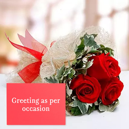 Red Roses Bouquet With Greeting Card: Flowers & Greeting Cards