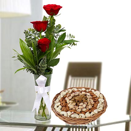 Red Roses Vase Arrangement and Dry Fruits Combo: Flowers and Dry Fruits