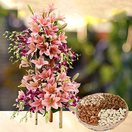 Exotic Flowers Arrangement and Dry Fruits Combo: Anniversary Flowers & Dry Fruits