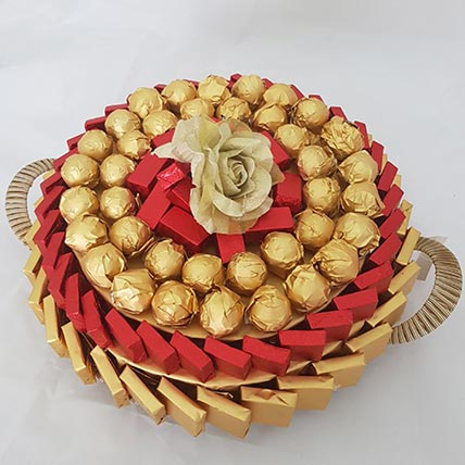 Red and Golden Chocolate Tray: Gifts For Holi