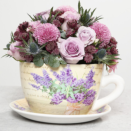 Mixed Flowers In Ceramic Cup Plate: Gift Ideas for Boss