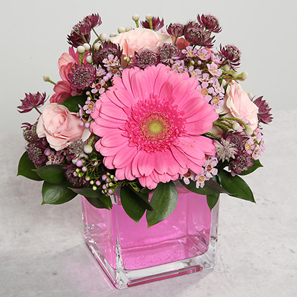 Pink Gerberas and Roses Arrangement: Birthday Flowers