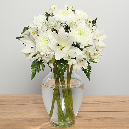 White Flowers In Glass Vase: Funeral Flowers to Abu Dhabi