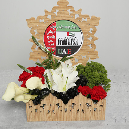 Carnations and Lilies in Basket: National Day Flowers