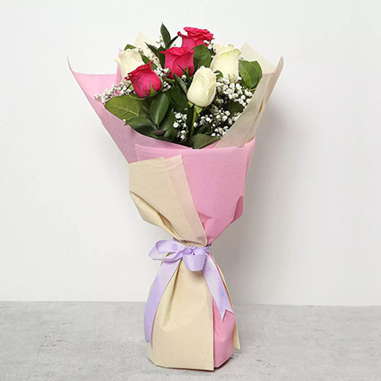 Pink and White Roses Bouquet: Birthday Gifts for Employees