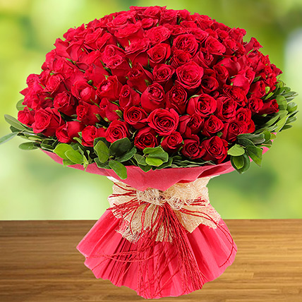100 Red Roses: Valentine Flowers for Boyfriend