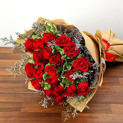 Bouquet Of 20 Red Roses: Propose Day Flowers