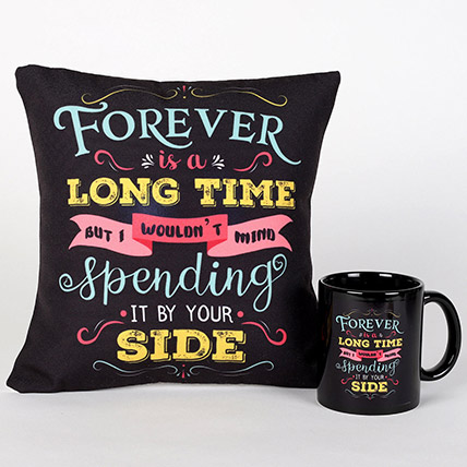 Forever By Your Side Printed Cushion and Mug Combo: Valentines Day Coffee Mugs