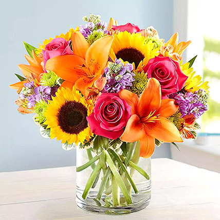 Vivid Bunch Of Flowers In Glass Vase: Birthday Flowers