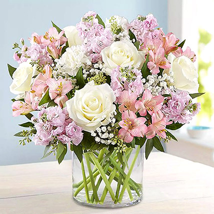 Pink and White Floral Bunch In Glass Vase: Birthday Flowers
