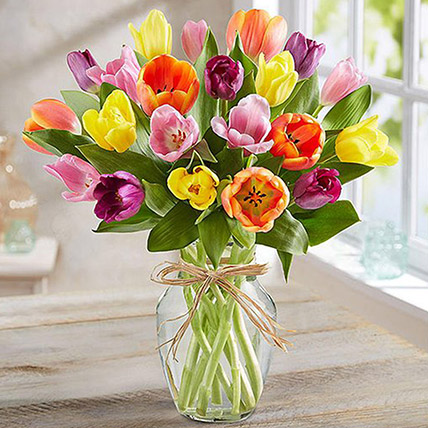Colourful Tulips In Glass Vase: Thanksgiving Gift Ideas
