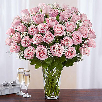 Bunch of 50 Gorgeous Pink Roses: Anniversary Flowers for Husband